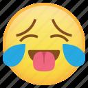 emoji, emoticon, smiley, sweat, tears, tongue, weird icon