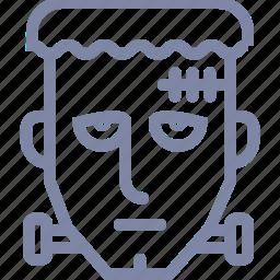 corpse, dead, face, frankenstein, head, zombie icon