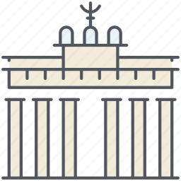 arch, berlin, brandenburg gate, germany, historical, landmark, monument icon