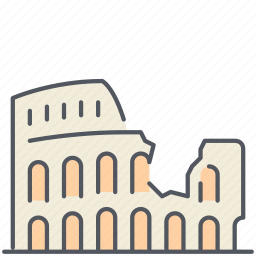 colloseum, gladiator, historical, italy, landmark, monument, rome icon