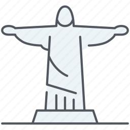 brasil, cristo, historical, landmark, monument, redentor, rio de janeiro icon