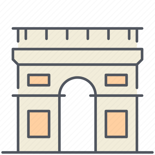 france, historical, landmark, monument, paris, triumphal arch icon