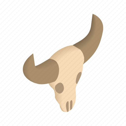 animal, bone, buffalo, dead, head, isometric, skull icon