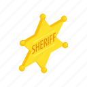 authority, gold, isometric, metal, sheriff, star, west icon
