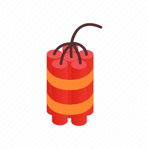 danger, destruction, dynamite, explosive, fuse, isometric, red icon