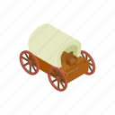 cart, isometric, transportation, wagon, west, wheel, wild icon