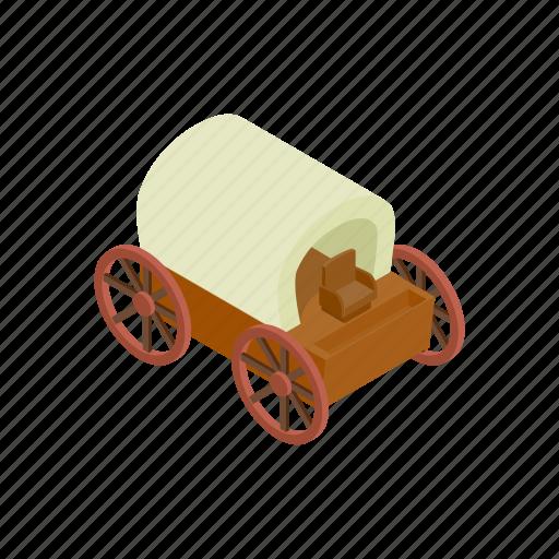 cart, isometric, transportation, wagon, west, wheel, wild icon