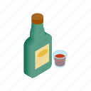 bar, bottle, drink, isometric, vintage, west, whiskey icon