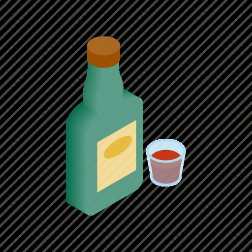 bar, bottle, drink, isometric, vintage, west, whiskey icon