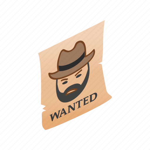 isometric, old, parchment, poster, wanted, west, western icon