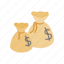 bag, currency, dollar, full, isometric, money, sack