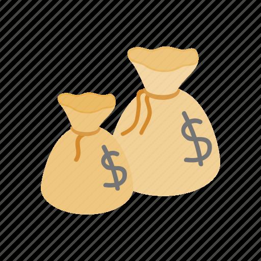 bag, currency, dollar, full, isometric, money, sack icon