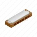 blues, harmonica, instrument, isometric, jazz, music, sound icon