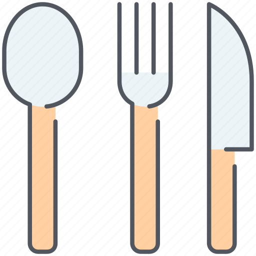 cookware, cuttlery, eatings, fork, knife, spoon, tableware icon