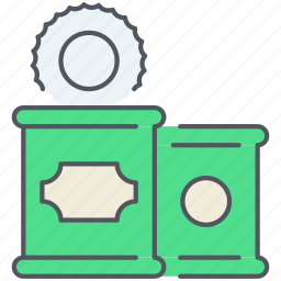 can, cans, food, kitchen, packaged, spinach, tin icon