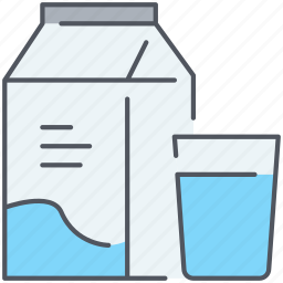 breakfast, diary, drink, food, glass, kitchen, milk icon