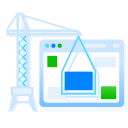 browser, builder, construction, crane, under, website, window icon
