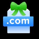.com, domain, free, present icon