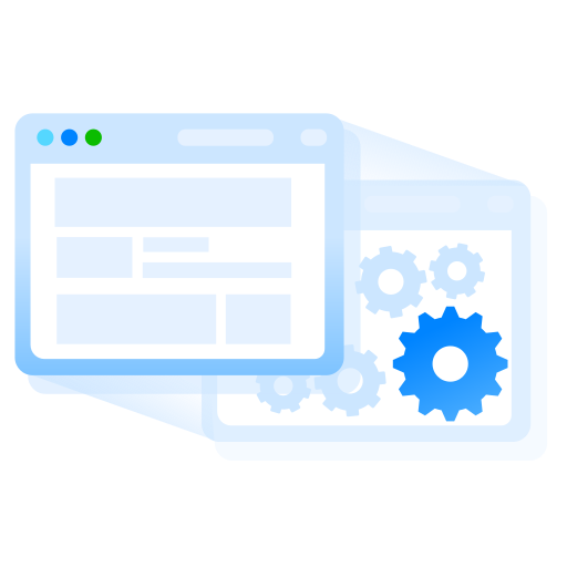 browser, gears, staging, website, window icon