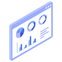 analytics, browser, stats, window, with, graphs icon
