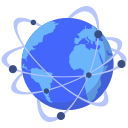 cdn, connected, dots, earth, globe, world icon