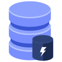 cache, database, lightning icon