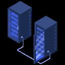 connected, racks, server, servers, center, data
