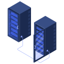 center, connected, data, racks, server, servers icon