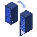 center, data, migration, racks, server, transfer, website icon