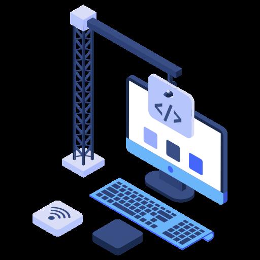 Builder, building site, crane, website, computer, construction, pc icon - Free download