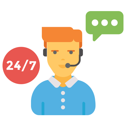24/7, chat, live, operator, support icon