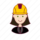 .svg, emprego, engenheira, engineer, job, mulher, professions, trabalho, white woman with black hair professions, work icon