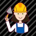 assistente de obra, emprego, job, mason, mulher, pedreira, professions, trabalho, white woman with black hair professions, work icon