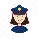 emprego, job, mulher, police officer, policial, professions, trabalho, white woman with black hair professions, work icon
