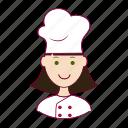 .svg, chef, chefe de cozinha, emprego, job, mulher, professions, trabalho, white woman with black hair professions, work icon