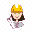 .svg, architect, arquiteta, emprego, job, mulher, professions, project, projeto, trabalho, white woman with black hair professions, work icon