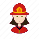 .svg, bombeira, emprego, fire, firefighter, fogo, job, mulher, professions, trabalho, white woman with black hair professions, work icon