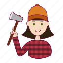 .svg, emprego, job, lenhadora, mulher, professions, trabalho, white woman with black hair professions, woodcutter, work icon