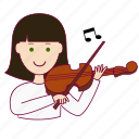 emprego, job, mulher, musician, musicista, professions, tocar violino, trabalho, violin, white woman with black hair professions, work icon
