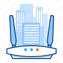 buildings, commercial, network, wifi icon
