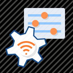 gear, options, settings, wifi icon