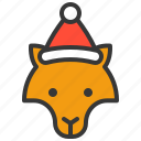 animal, christmas hat, wild, woof, xmas icon