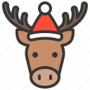animal, christmas, hat, moose, reindeer, xmas icon
