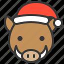 animal, christmas, hat, wild boar, xmas icon