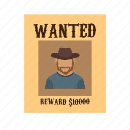 criminal, drawing, poster, sketch, wanted, west, wild icon