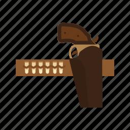 ammunition, belt, bullets, cowboy, gun, revolver, wild icon
