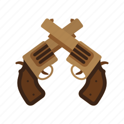 cowboy, gun, guns, revolver, two, west, wild icon