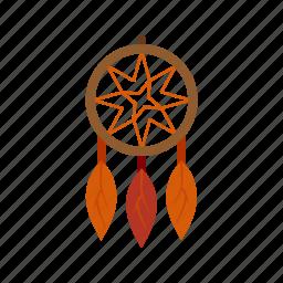 catcher, decoration, dream, feather, headdress, west, wild icon
