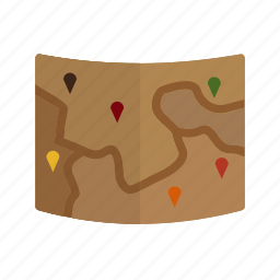 destination, gps, map, marked, roadmap, route, trip icon