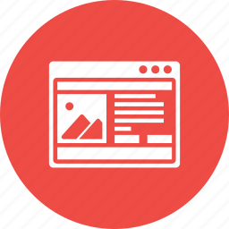 browser, content, information, page, photo, webpage, window icon